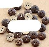 50 unids/lote Tamaño: 10-20 mm Botones de coco natural Costura de botones de madera 2 agujeros para álbumes de recortes de ropa (SS-524-484) -20 mm