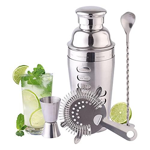Sistema de coctelera de acero inoxidable - 4 pieza700ml kit de barman con martini shaker strainer jigger agitando la cuchara herramientas de la barra de los regalos