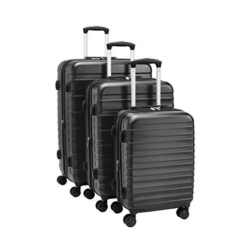 AmazonBasics - Juego de maletas rígidas de primera calidad: 56 cm, 68 cm y 78 cm, color negro