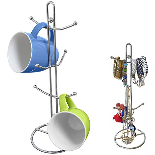 Evelots Mug Holder/Tree/Rack-Sturdy Chrome Metal-Holds 6 Cups-Jewelry Holder
