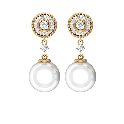 Rosec Jewels - Pendientes colgantes con 12 quilates 9 mm perla de agua dulce, pendientes HI-SI 0,31 quilates de diamante 18K Oro amarillo, Par