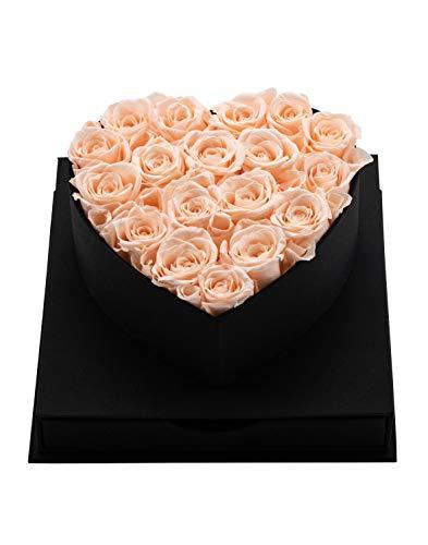 MadameRose edle Rosenbox Herz Geschenkbox schwarz mit 18 konservierten Rosen Farbe Champagne flowerbox Roses