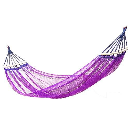 Yhjkvl Camping Hamaca 244x130cm Hamaca Al Aire Libre Columpio Colgante De Nailon Cama Columpio Tejido Portátil Al Aire Libre Hamaca para Exterior (Size:244 * 130cm; Color:Purple)