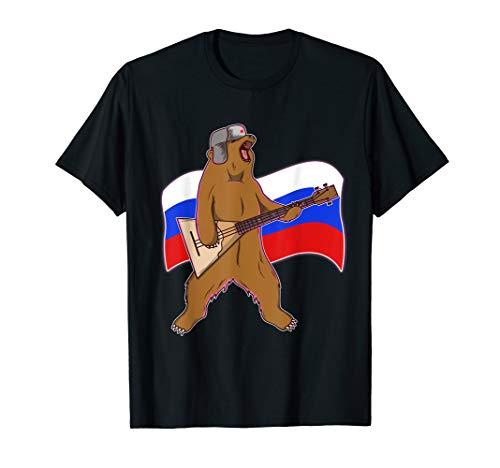 Bär T-Shirt Herren Russland Flagge Balalaika Ushanka UdSSR