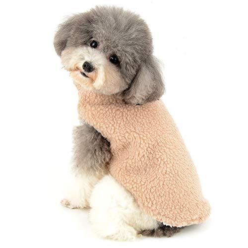 Ranphy Sherpa-Vlies Hunde Kleidung für Kleine Hunde Winter Aufgefüllte Haustier Mantel Weste Jacke Winddicht Kapuzenjacke Thermo Hundewelpen Yorkshire Terrier dackel Weihnachten kostüm Braun S
