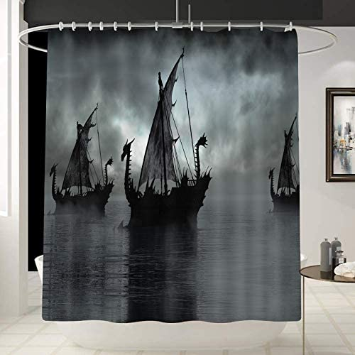 Norse Decor Viking Ship Shower Curtain Liner Fantasy Boat Art Black and White Color Sailing product image