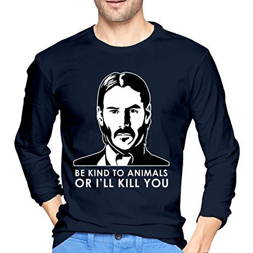 Heren T-shirts met lange mouwen Patroon Wees vriendelijk voor dieren Perfect voor verjaardagen Kerstmis of geschenk voor Herdenking Dag