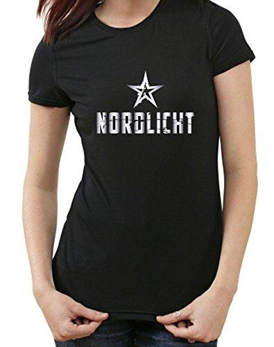 Nordlicht T-Shirt Hamburg Flensburg Bremen Rostock Kiel Lübeck, XXL, Ladies schwarz