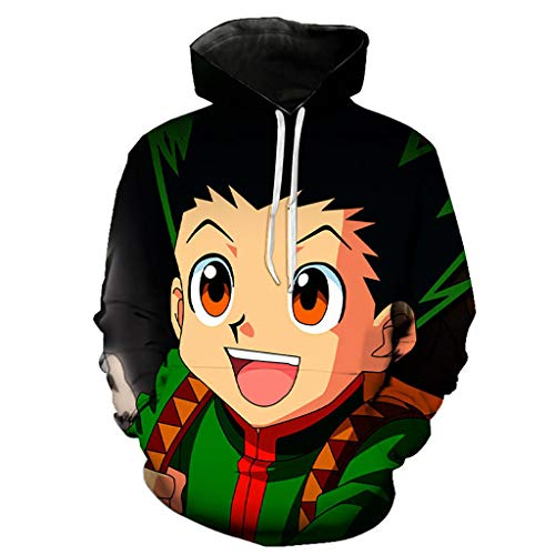 Hunter X Hunter Moletom com capuz masculino Killua Hisoka pulôver feminino anime moletom unissex estampado suéter jaqueta, 1, M