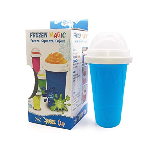 Quick Frozen Smoothies Slushy Ice Cream Maker Milk Shake Squee Cooling Cup, Magic Slushy Squeeze Cup - Fast Cooling Freeze Double Layer Summer Cup DIY for Family (Blue)