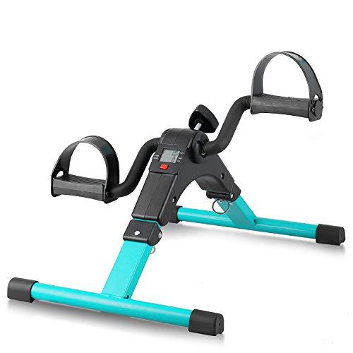 Folding Pedal Exerciser, Mini Arm Leg Under Desk Exercise Bike Foot Hand Cycle Portable Stationary Peddler Machine Bicycle Exerciser for Elderly Men Women(Green)