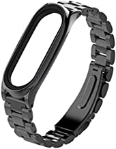 Mijobs Metal Strap for Xiaomi Mi Band 3 Straps Screwless Stainless Steel Bracelet Wristband Replace Accessories for Mi Band 3 (Black)