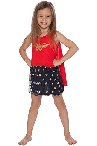 DC Comics Girls' Big Wonder Woman Tank Nightgown with Cape, Multi, 7/8