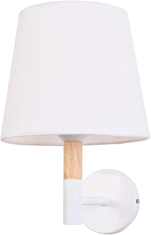 YangMi Wandlampe- Massivholz-warme Schlafzimmer-Nachttischlampen-Wand-Korridor-Stoff-Abdeckungs-Wandlampe (Farbe   Wei, gre   23x30cm)