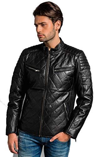 Negro 5XL Urban Leather UR-57 Chaqueta de Motocicleta para Hombre