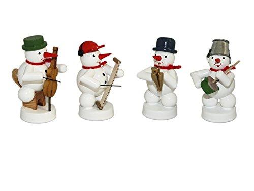 Rudolphs Schatkist Sneeuwmancapsule 4 figuren sjaalmei, Cello, brummpot, zingende zaag hoogte 8 cm NIEUW kerstfiguur tafelfiguur hout Ertsgebergte