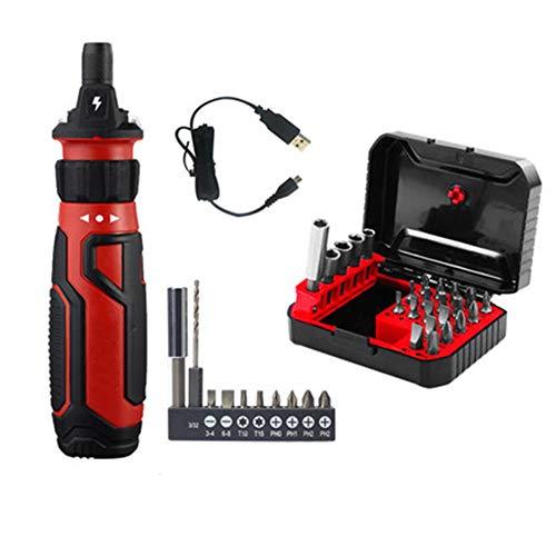 ASWT-Modo De Carga Destornillador Eléctrico, Mini Multifunción Hermeticidad Máquina Totalmente Automática Pequeñas Cordless Precision Destornillador Kits (Rojo)