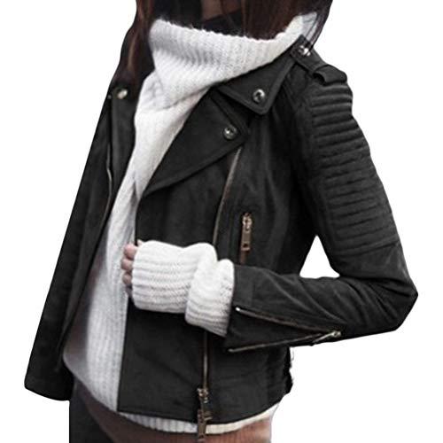 ORANDESIGNE Schwarz Reißverschluss V-Ausschnitt Langarm Warme Wildleder Mantel Bikerjacke Lederjacke Damen Mode Jacke S