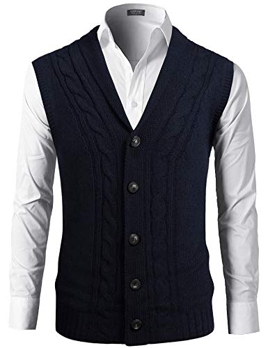 COOFANDY Mens Sweater Vests Casual Slim Fit Button-Down Sleeveless Shawl Collar Knit Vest