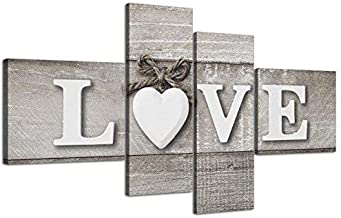 Wallfillers Large Shabby Chic Love Quote - Grey Canvas Wall Art Prints - Multi 4 Part - 4297