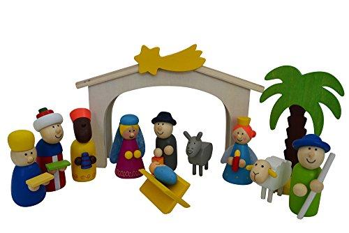 Spielkrippe mit hochwertigen Figuren aus Holz