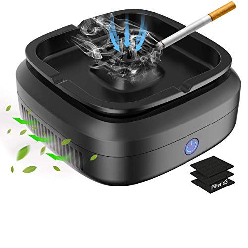 FORTGESCHE Smokeless Ashtray for Cigarette Smoker Multifunction Desktop Smoking Ash Tray for Home Office Decoration, Clean Secondhand Smoke, USB...