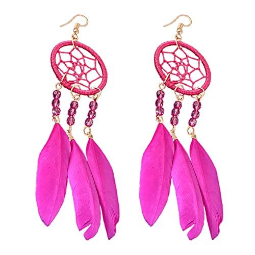 Flauli 1 par de pendientes colgantes con diseño de plumas, pendientes de joyería de estilo étnico, atrapasueños, pendientes bohemios para mujer, regalo de vida cotidiana, color rosa rojo