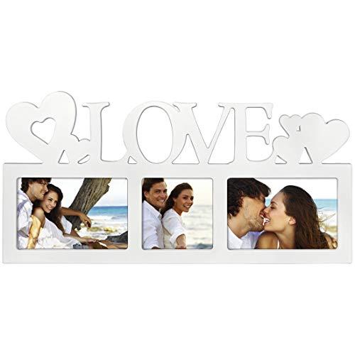 """Hama Collage Bilderrahmen für Fotocollagen """"Montreal - Love"""" (Fotorahmen mit Love-Schriftzug und Herzen, für 3 Fotos, Kunststoff-Rahmen, Echtglas) Fotogalerie weiß"""