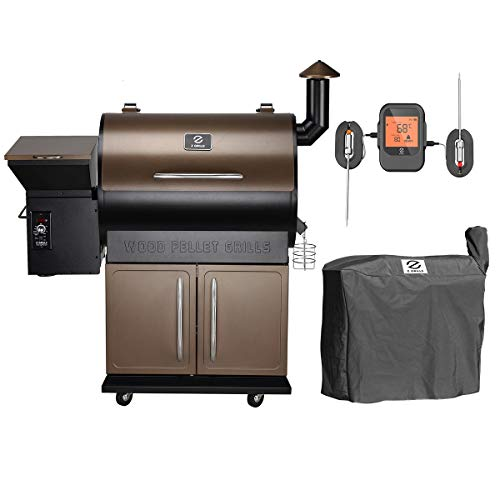 Z GRILLS ZPG-700DPRO Wood Pellet Grill Smoker for Outdoor Cooking with Wireless Meat Probe Thermometer, 2020 Upgrade, 8-in-1