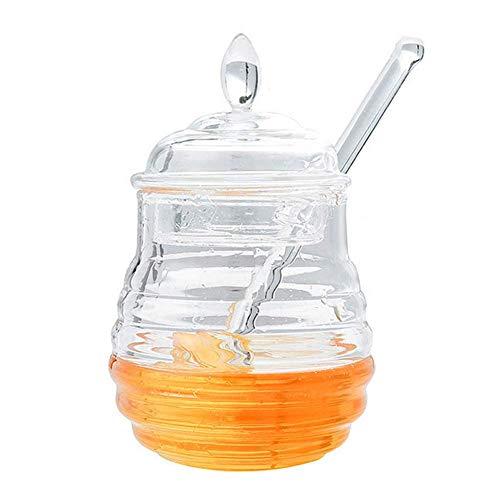 245ML Mini tarro de miel de forma de colmena transparente con tapa y goteador de miel para almacenar y dispensar de miel, Decoración de cocina