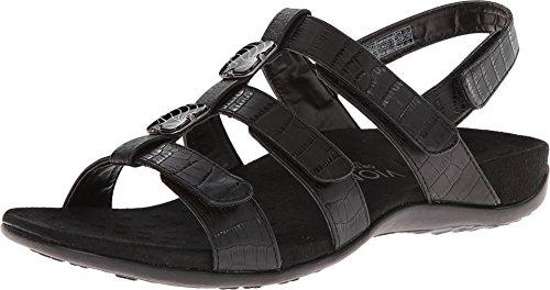 Vionic Women's Vionic Women's Rest Amber Backstrap Sandal - Ladies Adjustable Walking Sandals with Concealed Orthotic Arch Support Black Croc 12 Medium US