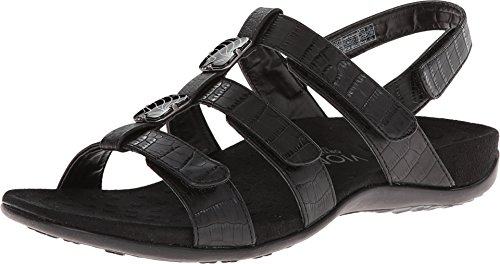 Vionic Women's Women's Rest Amber Backstrap Sandal - Ladies Adjustable Walking Sandals with Concealed Orthotic Arch Support Black Croc 8 Wide US