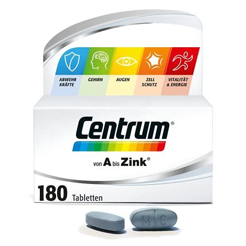 Centrum Von A bis Zink – Hochwertiges Nahrungsergänzungsmittel zur täglichen Komplettversorgung mit Mikronährstoffen – Vitamine, Mineralstoffe, Spurenelemente – 1 x 180 Tabletten