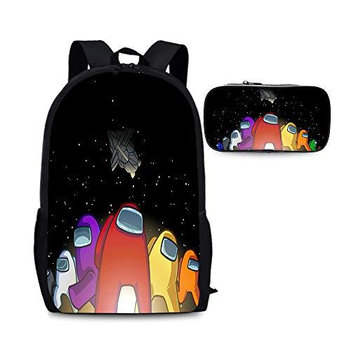Among Us Popular estilos Mochila Mochila Mochilas de 2 piezas Conjuntos Multicolor Bolsa de viaje Adecuado para escolares y niñas bolsa escolar escolar portátil escuelas diarpack mochilas + bolsa de l