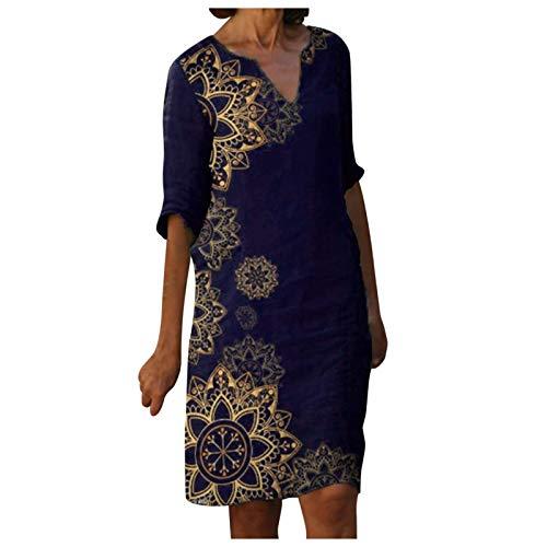 Dasongff Damen Freizeitkleid Boho Knielang Kleid Leinenkleid Ethnisch Stil Kaftan Vintage Baggy Sommerkleid Tshirt Kleid Elegante Bunter V-Ausschnitt Etuikleid