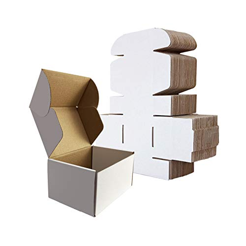 RLAVBL Small Shipping Boxes 6x4x3 White Corrugated Cardboard Box, 25 Pack