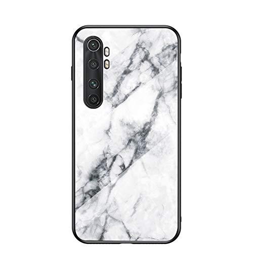 Funda para Xiaomi Mi Note 10 Lite Marmol Case Tapa Trasera de Cristal Templado con TPU Edge Carcasa para Xiaomi Mi Note 10 Lite (Blanco)