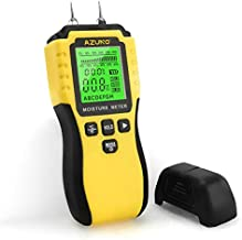 AZUNO Wood Moisture Meter, Pin-Type Wood Humidity Detector with 9 Modes, Digital Water Leak Tester with Backlit LCD Display Audible Alert for Wood Wall Dampness Inspection