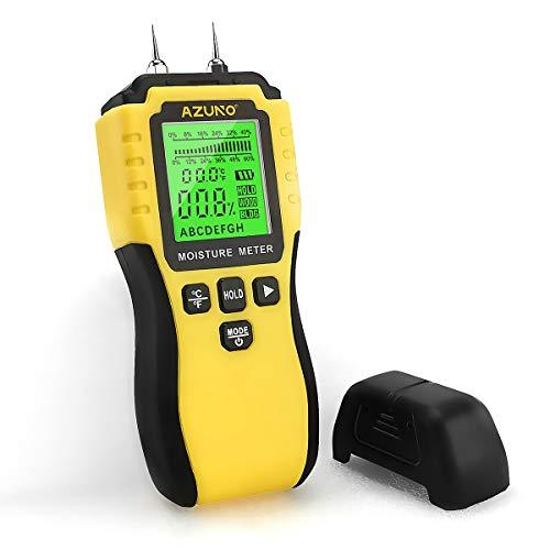 AZUNO Feuchtigkeitsmesser, Pin-Typ Feuchtigkeitsmessgerät mit Batterie und LCD-Display digitale Feuchtigkeits-Detector für Holz,Beton,Baustoffen,Gipskarton