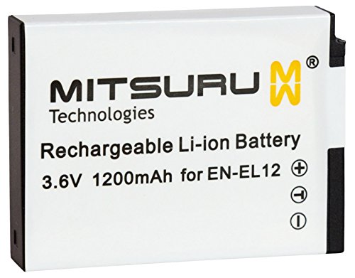 Mitsuru 1200mAh Akku Ersatz kompatibel mit EN-EL12 ENEL12 ENEL 12, passend zu Nikon CoolPix AW100 AW100s AW110 S31 S1200 S1200pj S6000 S6150 S6200 S8200 S9200 S9400 S9500