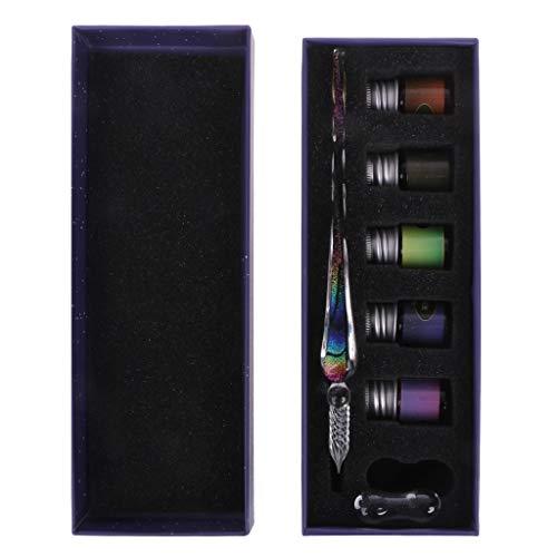 Eliky Handgemachte Kristallglas Dip Pen Glasfüller Glas Dip Pen zum Schreiben Füllfederhalter Set Geschenk (A)