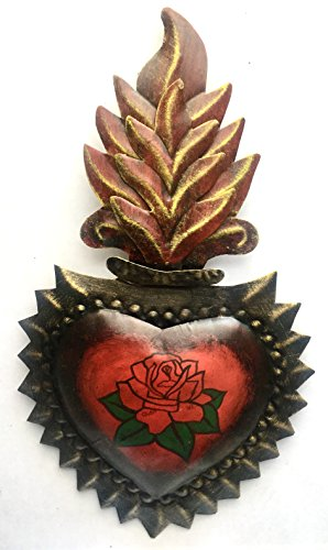 Tin Sacred Heart with Wavy Flames Decorated with a Rose. Milagro Ex Voto
