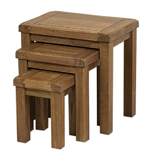 KX-YF Nest of Tables Furniture Original Rustic Solid Nest of 3 Tables Small Coffee Table Solid Wooden Living Room (Color : Yellow, Size : Free size)