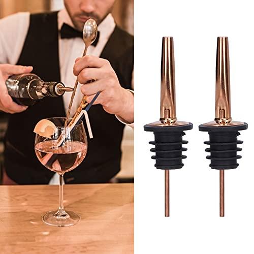 Vertedor de botellas de acero inoxidable + vertedor de botellas de goma para alcohol para restaurantes para bares(Oro rosa sin tapón)