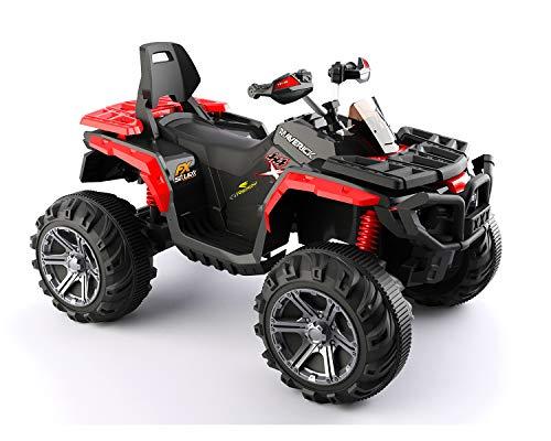 ES-TOYS Quad Infantil eléctrico 588 Rojo, Amortiguador, Asiento de Cuero, 2X Motores...