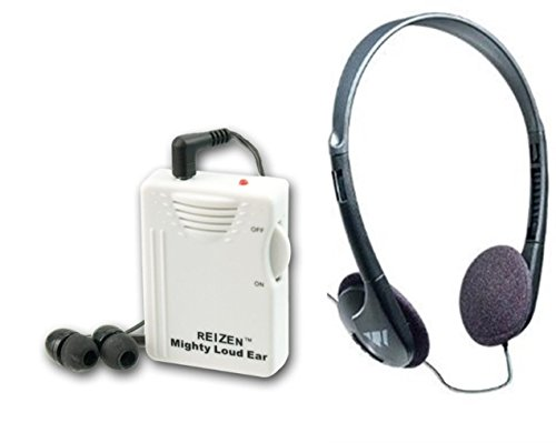 Reizen Mighty Loud Ear 120dB Personal Sound Hearing Amplifier with Earphones and Extra Headphones