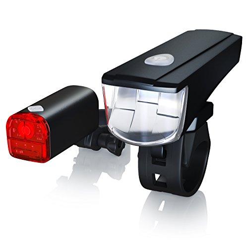 aplic - LED Fahrradbeleuchtung Set - StVZO zugelassen - Helles Front und Rücklicht - Fahrradlicht Fahrradlampe Fahrradleuchte - Batterie Leuchtenset