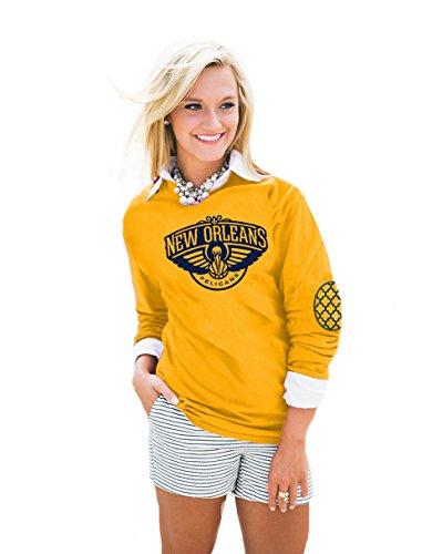 Camiseta de manga larga para mujer de la NBA, coderas con estampado en relieve, de todos los equipos - AEP14WA, New Orleans Pelicans, XXL, Dorado
