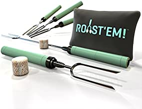 Jolly Green Products Rotating Marshmallow Roasting Sticks | Set of 5 Telescoping Forks - Free Bag | Safe, Fun Smores & Hot Dog Stainless Steel Long Camping Skewers | Campfire BBQ Cookware Accessories