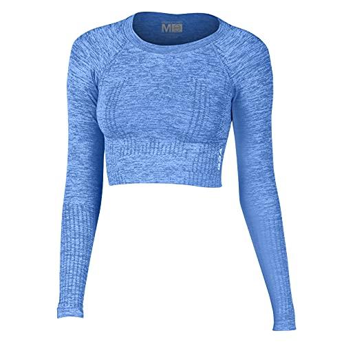 GSA Seamless Longsleeve Crop Top Camiseta, Azul Claro, XS-S para Mujer